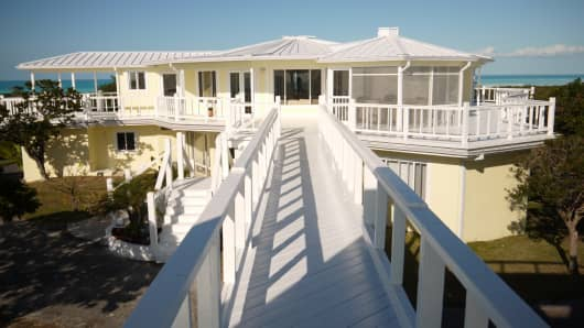 The 3000 square ft main house on Innocence Island, Bahamas